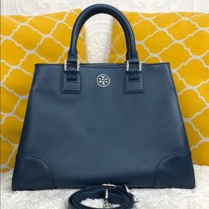 🌸OFFERS?🌸Tory Burch Leather BlueTriangle Satchel